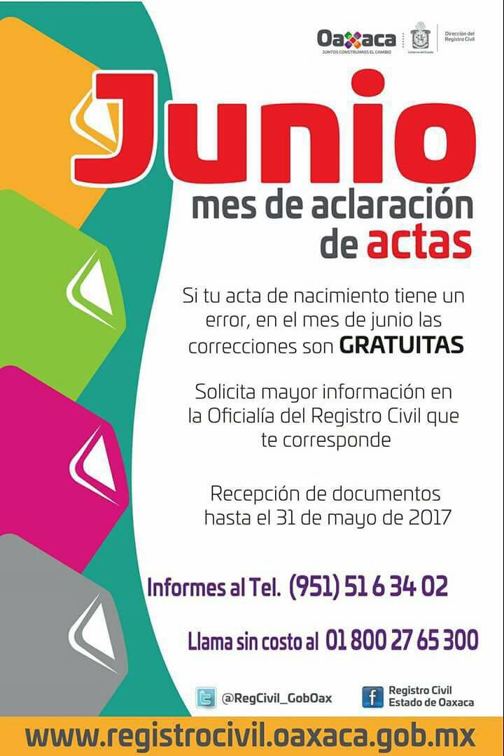 """Anuncia Dirección del Registro Civil programa """"Junio, mes de ..."""